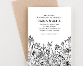 Vintage Botanical Save The Date, Black and White, Bridal Shower, Wedding Invitation