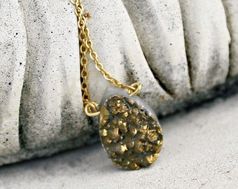 Titanium Gold Druzy Agate Necklace - Dark Gold, Metallic, Briolette, Organic, Gift For Her, Women's, Mother's Day