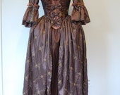 lovely browns embroidered taffeta Marie Antoinette Victorian inspired rococo costume dress