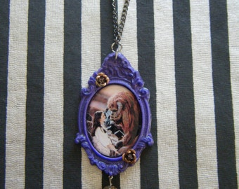 Such a nice beast Labyrinth inspired hand cast resin ornate frame cameo with dangling rock