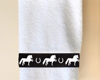 Morgan Horse Hand Towel - Your Choice of Colors Horses and shoes with or without name!