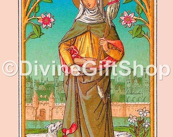 "Icon Saint Genevieve. 5"" X 7"" Print. Gorgeous. Patroness of France."