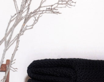 Ready to Ship  Beautiful and Luxuriously Handcrafted CROCHET Blanket Throw BLACK