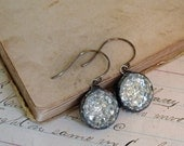 Repurposed Glass Button Earrings Sparkle Jewelry