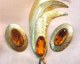 Golden Topaz Whiting and Davis Vintage Pin and Earring Set
