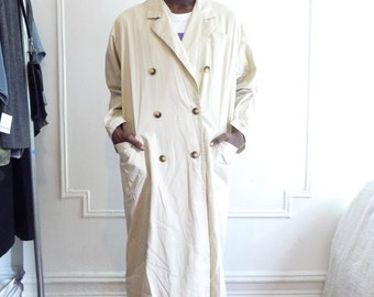 80s Oversized Off White Trench Coat