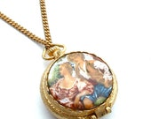 Perfume Locket Necklace Romantic Vintage Courting Lovers Enamel Gold Chain