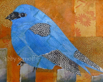Fine Art Print of Original Mixed Media Collage Indigo Bunting