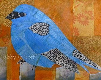 Bird Art, Bird Artwork, Bird, Bird Art Print, Bird Lover Gift, Unique Bird Art, Whimsical, Art Print, Indigo Blue, Blue Bird, Indigo Bunting