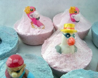 4 Childrens Bath Fizzies/Bombs- each 2.5-3.2 oz..- each with finger puppet embedded. Party gift, party favors-bathtime fun