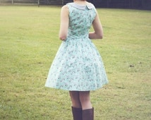 fox print dress - mint and gray dress with peter pan collar - retro clothing - womens dress - vintage inspired - rockabilly dress