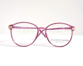 Big Round NOS Lavender Eye Frames Never Used VTG 80s Windsor Sunglasses Preppy Eyeglasses Pastel Log Lady Twin peaks Bug eye Granny sale