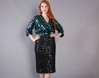 80s SEQUIN 2 Piece SET / 1980s Green & Black Top and Skirt, xs-s