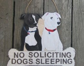 PITBULL DOG SIGN - No soliciting Sign/Remove Shoes/Welcome - Original Hand Painted Wood