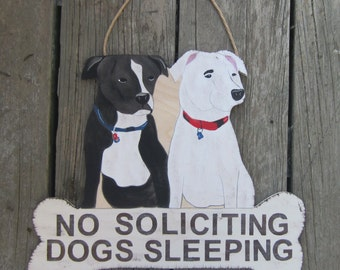 PITBULL Custom Dog Sign - No soliciting Sign/Remove Shoes/Welcome - Original Hand Painted Wood