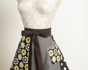 Black Yellow half Apron- Polka Dots and Daisies