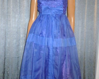 """Vintage 50's - Full Skirt - Blue Purple - Lace - Chiffon- Bombshell - Pin Up - Bow - Empire Waist - Dress - bust: 30"""" - For Costume or Stage"""