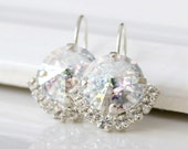 Crystal White Patina Swarovski Crystals with a Half Halo of Crystals on Silver Leverback Earrings