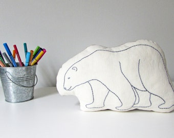 organic polar bear shaped pillow, polar bear cushion, plush polar bear, arctic animals