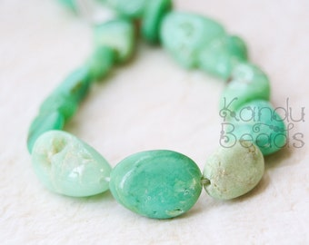 Irregular Chrysoprase Mint Green with Brown Irregular Oval Nugget beads 12-20mm