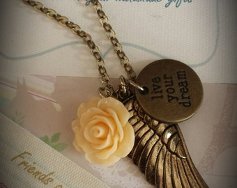 Live Your Dream. Inspirational Necklace with Wing and Rose Charm. Great graduation gift. Encourage and inspire.