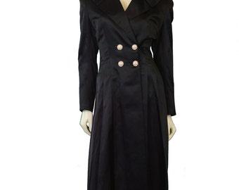 1970 Black Silk Satin Evening Coat by Jo Patullo
