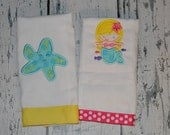 Personalized Under Sea Burp Cloth Set of 2 - Mermaid  and Starfish