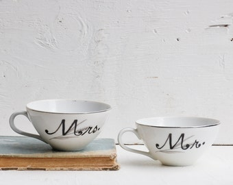 Mr. and Mrs. Hand Painted Vintage White TEACUPS Wedding Bride Groom Silver & White Customizable Anniversary Gift!