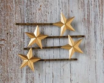 Gold STAR Bobby Pin Set Golden Stars Winter Holiday Bridal  (4)