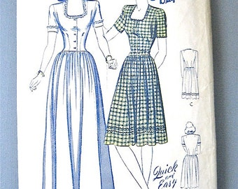 Vintage 1940s Butterick 2479 Sewing Pattern.   Bust 33 inches