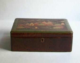 Vintage Laquered Box ~ Asian Landscape ~Greens & Orange ~ Faux Wood Sides