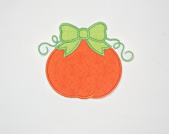 """Embroidered Iron On Applique """"Pumpkin Bow""""  RTS"""