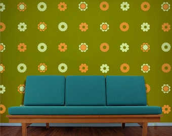 flower pattern vinyl wall decal set, 70s funky flowers, vintage inspired vinyl stickers, FREE SHIPPING