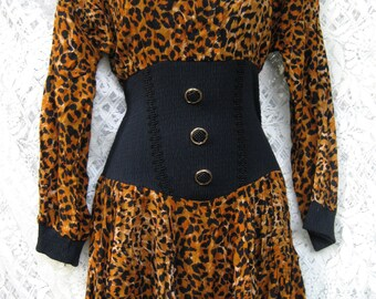 small TIGER, ORANGE and BLACK grrrrLanimal mini dress, vintage 1980s 80s dress