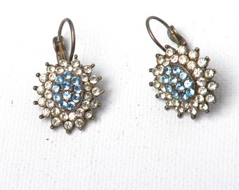 Pair of two vintage earrings with white and blue rhinestones