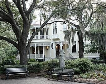 Charleston Photography, French Quarter Mansion Spanish Moss Trees, Charleston Romantic Victorian Home,Charleston Southern Mansion Moss Trees