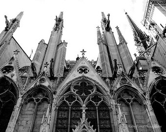Gothic Paris Photography, Paris Black and White Photography,Paris Notre Dame Cathedral, Paris Gargoyles Notre Dame, Paris Black White Prints