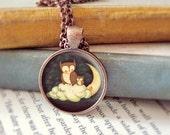 Owl Necklace, Moon Pendant, Owl Pendant, Owl Jewelry, Owl Moon Necklace, Owl Art, Moon Jewelry, Kids Jewelry Children - Goodnight Little Owl