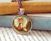 Red Fox Necklace, Fox Pendant, Fox Jewelry, Fox Animal Necklace, Animal Art, Animal Jewelry, Kids Jewelry Children - Little Fox In The Woods