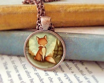 Red Fox Necklace, Fox Pendant, Fox Jewelry, Fox Animal Necklace, Animal Art, Animal Jewelry, Kids Jewelry Children - Little Fox In The Woods