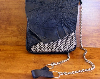 "Black Lambskin Leather and Chainmail Purse  with a spike button - 10"" x 8"" x 1 1/2"", and 50"" choke chain strap"