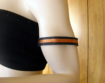 """Copper arm band - Black Deerskin Leather Arm Cuff 3/4"""" wide, copper wire braid with lobster clasp, size 11'' to 13"""""""