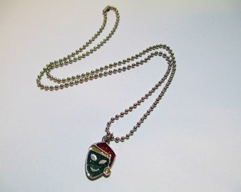 Vintage 90's Glitter Alien Santa Necklace