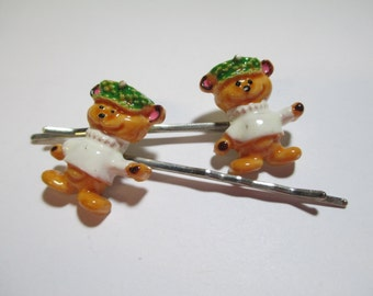 Set of Two Vintage Teddy Bear Bobby Pins DEADSTOCK