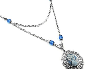 Neo Victorian Cameo Necklace - Dearly Departed - with Blue Czech Glass Bead Accents - By Ghostlove