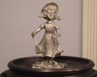 Pewter Tennis Playing Girl Vintage Miniature Pewter