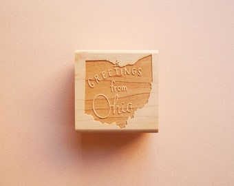 Greetings from Ohio State Original Hand Lettered Rubber Stamp