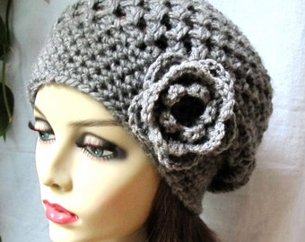 Crochet Womens Hat, Slouchy Beret, Charcoal Gray or Pick Your Color, Rose Flower, Chunky, Teens, Birthday Gifts, Gifts for Her JE407SBTF4