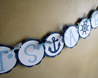 Nautical Baby Shower Banner, Ahoy It's A Boy, Nautical Banner, Nautical Baby Shower, Nautical Birthday, Anchor Baby Shower, Sailboat Banner