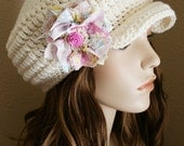 SALE Newsboy Hat Womens Crochet Hat Brimmed Beanie with Shabby Chic Flower Off-White Womens Accessories Aran